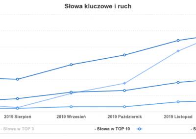 Wzrost widoczności i pozycji strony - wykres z semstorm.com